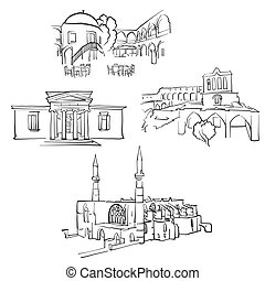 Nicosia Cyprus Famous Buildings, Monochrome Outlined Travel...