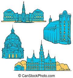 Copenhagen Denmark Colored Landmarks