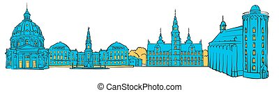 Copenhagen Denmark Colored Panorama
