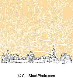 Zagreb Croatia Skyline Map, One Color Scalable Vector Art...