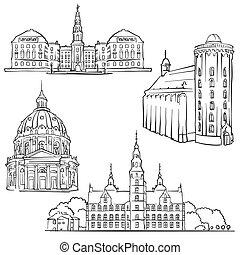 Copenhagen Denmark Famous Buildings, Monochrome Outlined...