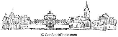 Zagreb Croatia Panorama Sketch, Monochrome Urban Cityscape...