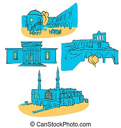 Nicosia Cyprus Colored Landmarks, Scalable Vector Monuments....