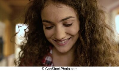 Close up of face of beautiful teenage girl at home - Close...