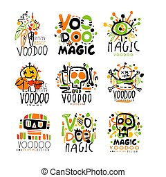 Voodoo African and American magic set for label design....