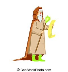 Old wizard holding magic staff. Colorful fairy tale...