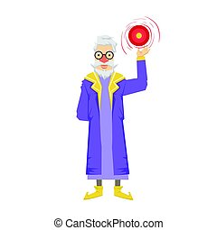 Magic witch wizard with crystal ball. Colorful fairy tale...