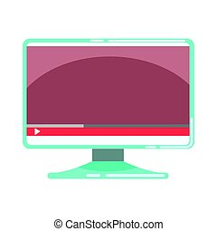 Computer monitor with media player interface. Colorful...