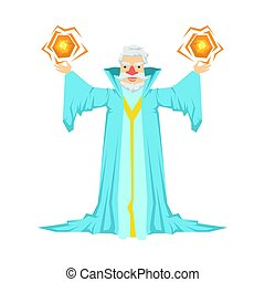 Old bearded wizard in a blue robe holding two magic balls in...