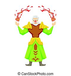 Old bearded magician making magical passes. Colorful fairy...