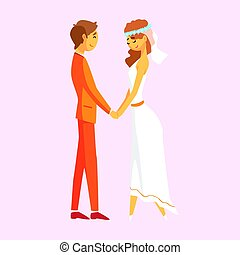 Wedding couple holding hands. Romantic couple colorful cartoon character