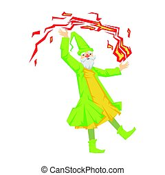 Green wizard in action with red crystal ball. Colorful fairy...