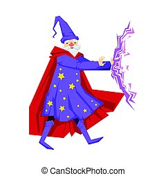 Magician in a purple robe in action. Colorful fairy tale...