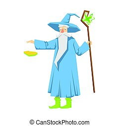 Old bearded wizard in a blue pointed hat holding magic...