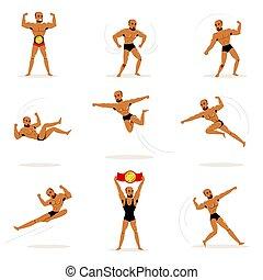 Freestyle Wrestling Fighter In Black Underwear Fighting Set...