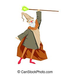 Old wizard with magic staff. Colorful fairy tale character Illustration