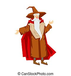 Old bearded wizard in the pointed hat. Colorful fairy tale...