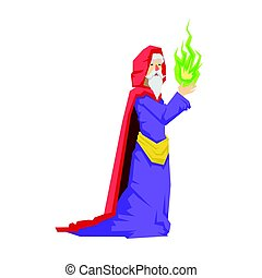 Old wizard in a red cape holding green magic ball. Colorful...