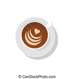 Coffee cup. Vector illustration. Latte art. Cappucino coffee...