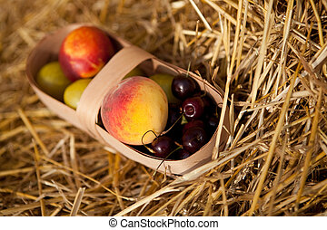 Fruits in the basket - Some fruits in the basket on straw
