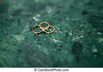 Wedding rings on the stones in the grass. Wedding in...