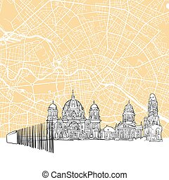 Berlin Germany Skyline Map, One Color Scalable Vector Art...