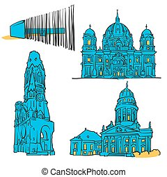 Berlin Germany Colored Landmarks, Scalable Vector Monuments....