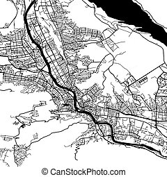 Tbilisi Georgia Vector Map Monochrome Artprint, Outline...
