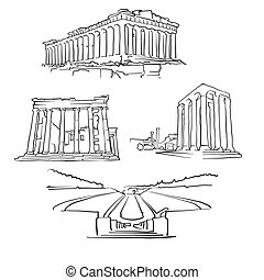Athens Greece Famous Buildings, Monochrome Outlined Travel...