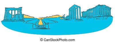 panorama, grecia, colorato, Atene
