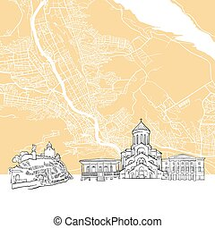 Tbilisi Georgia Skyline Map, One Color Scalable Vector Art...