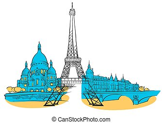 Paris France Colored Panorama, Filled with Blue Shape and...