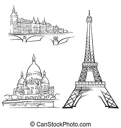 Paris France Famous Buildings, Monochrome Outlined Travel...