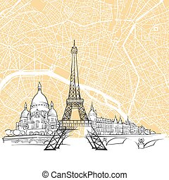Paris France Skyline Map