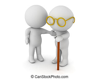 Character caretaker helping out an old man. Image depicting...