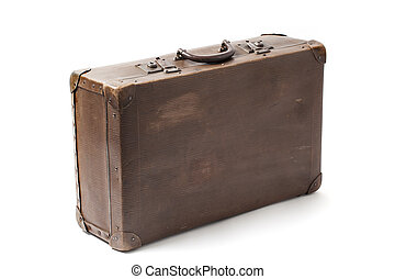 Old Antiquated Suitcase On White - Closed obsolete...