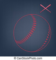 Image sport background - Red sketch of baseball ball with...