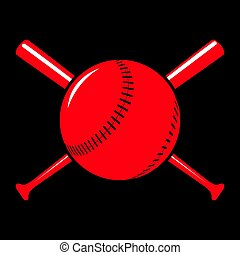 Image sport background - Red badge of baseball ball with...