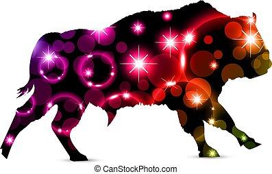 Silhouette of running bizon