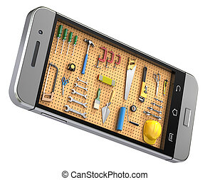 Pegboard in the mobile phone - 3D illustration