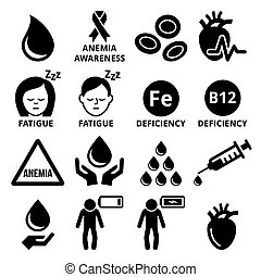 Blood, anemia, human health icons set - Vector icon set -...