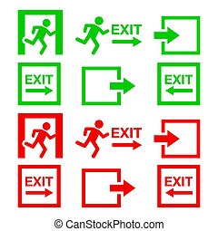 Emergency exit sign, warning icons vector set in green and...