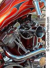 V-2 engine - Powerful V-2 engine of a customized motorbike
