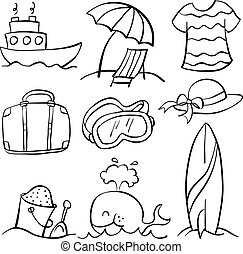 Illustration vector summer object doodles