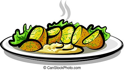 hot boiled potatoes - illustration of boiled potatoes with...
