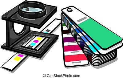 equipments prepress tools - illustration of equipments tools...