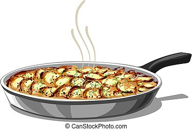 roasted baked potatoes - illustration of pan with roasted...