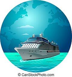 cruise ship travel - illustration of cruise ship round the...