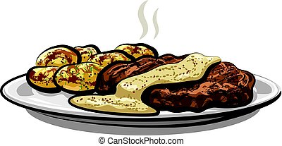 meat with potatoes - illustration of baked meat with boiled...
