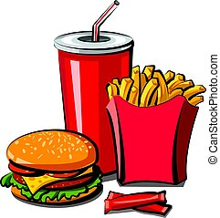 fast food meal - illustration of fast food meal, hamburger,...